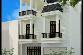 mẫu thiết kế nhà phố tân cổ điển đẹp 3 tầng 9x16m