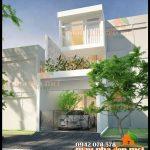 Mẫu thiết kế nhà đẹp 2 tầng mặt tiền 4m kiến trúc mái bằng hiện đại