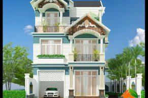 mẫu thiết kế biệt thự 3 tầng 8m