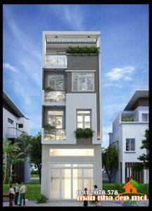 Mẫu nhà ống 4 tầng 4x13m có 4 phòng ngủ đẹp kiến trúc hiện đại nổi bật