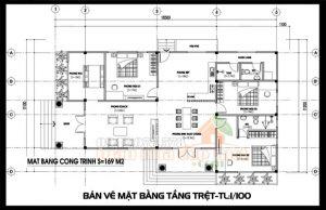 Bản vẽ thiết kế nhà cấp 4 đẹp 3 phòng ngủ 170m2 tích hợp nội thất tiện nghi