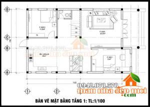 Bản vẽ thiết kế biệt thự 2 tầng hiện đại 100m2 có 4 phòng ngủ tại Bắc Ninh