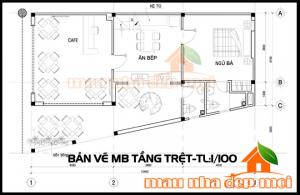 Bản vẽ thiết kế biệt thự đẹp 2 tầng 5m có không gian kinh doanh cafe hè phố tiện lợi