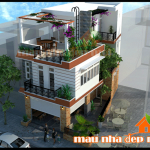 Mẫu thiết kế biệt thự đẹp mặt tiền 5m kết hợp kinh doanh cafe hè phố vẹn cả đôi đường